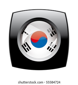 South korea shiny button flag with black frame -  vector illustration. Isolated abstract object against white background.
