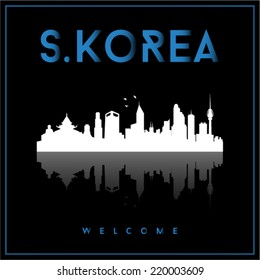 South Korea, skyline silhouette vector design on parliament blue and black background.