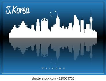 South Korea, skyline silhouette vector design on parliament blue and black background.