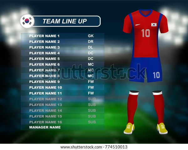 4d490e43f South Korea soccer jersey kit with team line up board on soccer stadium and  crowd fan