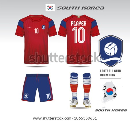 6d5af1a73 South korea soccer jersey or team apparel template. Mock up Football  uniform for football club. Red and blue layout football sport t-shirt  design. Vector ...