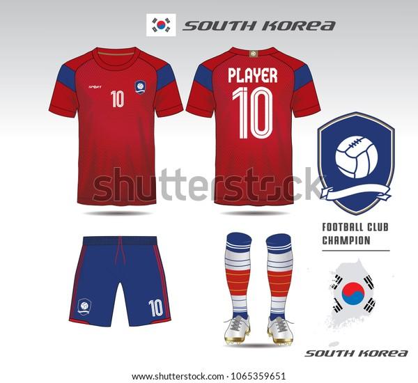 d52734ddb South korea soccer jersey or team apparel template. Mock up Football uniform  for football club