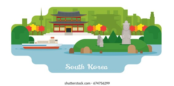 South Korea Travel and Attraction Landmarks, Famous Place, Cityscape, Sea and Land