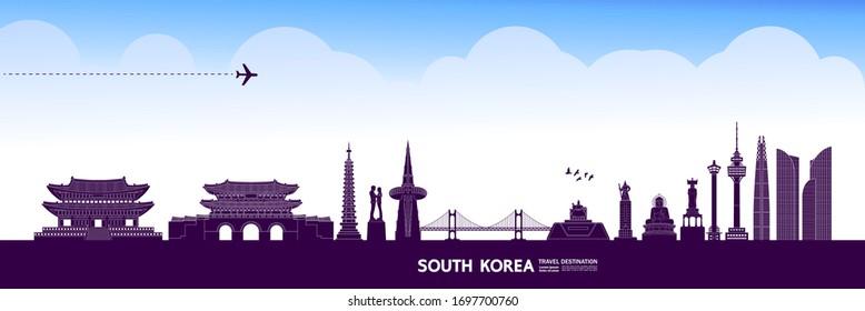 South Korea travel destination grand vector illustration.