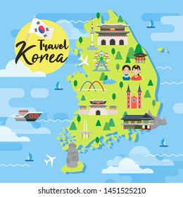 South Korea travel map vector illustration, Attractions in flat design.