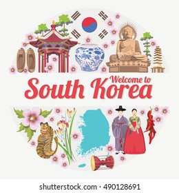 South Korea travel vector poster with korean traditional objects. Korea Journey card in vintage style. Republic of Korea vector design template.