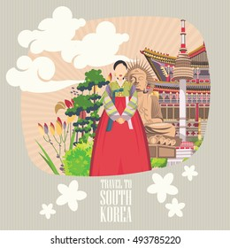South Korea travel vector poster with korean people, pagodas and traditional signs in light design. Korea Journey card with korean objects