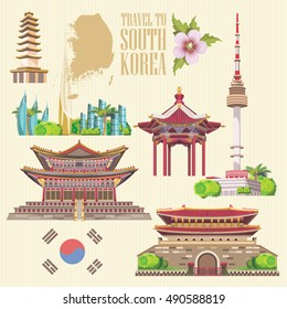South Korea travel vector set with pagodas and traditional signs. Korea Journey card with korean objects
