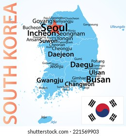 South Korea - vector map with largest cities. Carefully scaled text by city population, geographically correct.