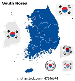 South Korea  vector set. Detailed country shape with region borders, flags and icons isolated on white background.