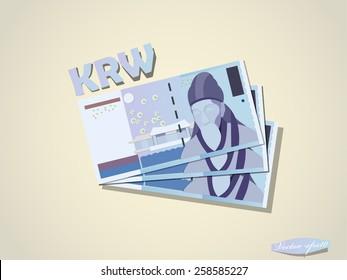 South Korea Won money paper minimal vector graphic design