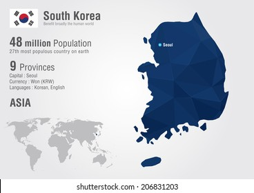 South Korea world map with a pixel diamond texture. World Geography.