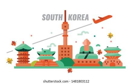South Korean autumn travel. Flat design icons. vector illustration