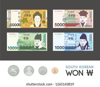 "South Korean bills (KRW) ""Fifty thousand won, Ten thousand, Five thousand, One thousand, Five hundred, One hundred, Fifty, Ten won."" Vector graphic illustration EPS10"