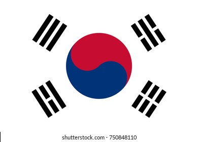 South Korean flag, official colors and proportion, accurate vector illustration.