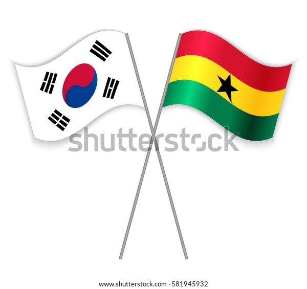 South Korean and Ghanaian crossed flags. South Korea combined with Ghana isolated on white. Language learning, international business or travel concept.