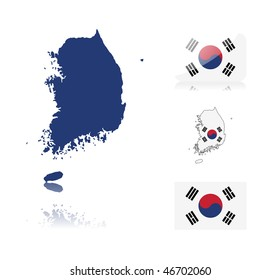 South Korean map including: map with reflection, map in flag colors, glossy and normal flag of South Korea.