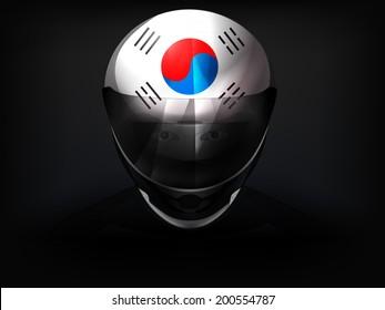 South Korean racer with flag on helmet vector closeup illustration
