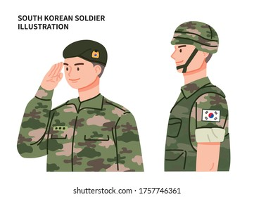 South Korean soldier vector illustration