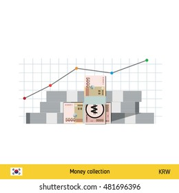 South Korean Won banknote. Growth of financial and economy concept. vector illustration.