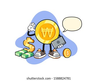 South korean won gold coin freelancer with speech bubble cartoon. Mascot Character vector.