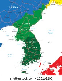 South and North Korea map