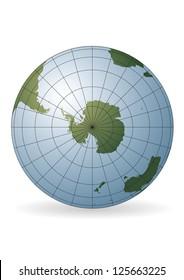 South Pole map. Antarctica, Australia, America, Africa.