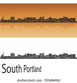 South Portland skyline in orange background in editable vector file