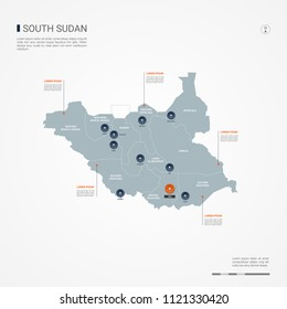 South Sudan map with borders, cities, capital Juba and administrative divisions. Infographic vector map. Editable layers clearly labeled.