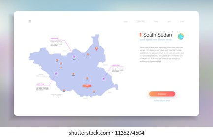 South Sudan map infographics vector template with cities, capital Juba and pointer marks.