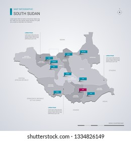 South Sudan vector map with infographic elements, pointer marks. Editable template with regions, cities and capital Juba.