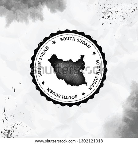 South Sudan Watercolor Round Rubber Stamp Stock Vector (Royalty Free