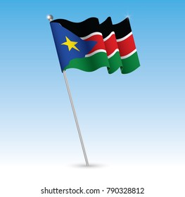 South Sudan Waving Flag in The Wind with a Blue Sky Background. Vector Illustration.
