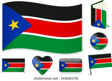South Sudanese national flag. Vector illustration. 3 layers. Shadows, flat flag, lights and shadows. Collection of 220 world flags. Accurate colors. Easy changes.