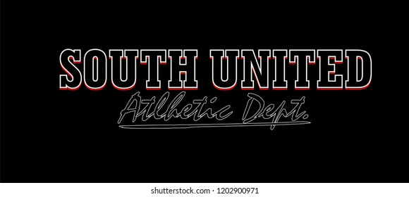 South United, t shirt graphic design, vector artistic illustration graphic style, vector, poster, slogan.