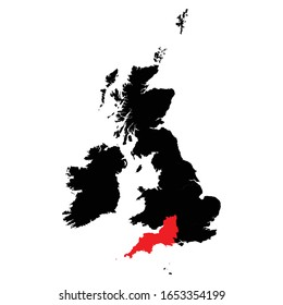 South West highlighted on United Kingdom map Vector EPS 10