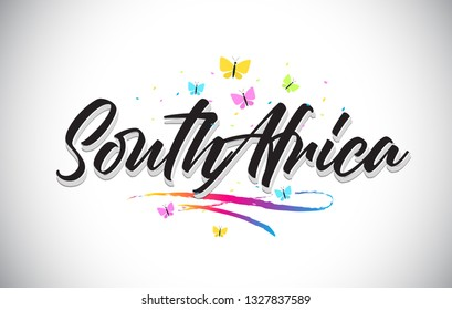 SouthAfrica Handwritten Word Text with Butterflies and Colorful Swoosh Vector Illustration Design.