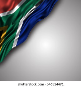 south-african waving silky flag isolated on gray background, can be used in many topic like national day, south-africa national and international events