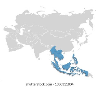 South-East Asia in blue on the grey model of Asia map. Vector illustration