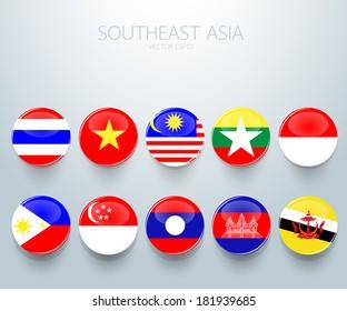 Southeast Asia flag icon : AEC, vector illustration