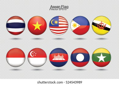 Southeast Asia flag icon : AEC, vector illustration