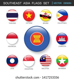 Southeast Asia flags  set and members in botton stlye,vector design element illustration
