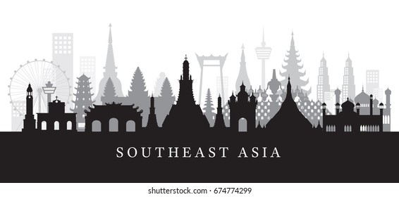 Southeast Asia Landmarks Skyline in Black and White Silhouette, Cityscape, Travel and Tourist Attraction