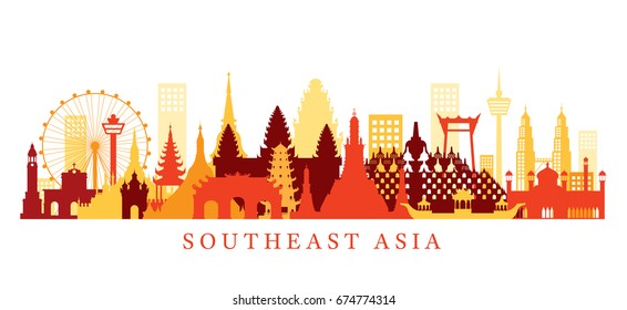 Southeast Asia Landmarks Skyline, Shape, Cityscape, Travel and Tourist Attraction