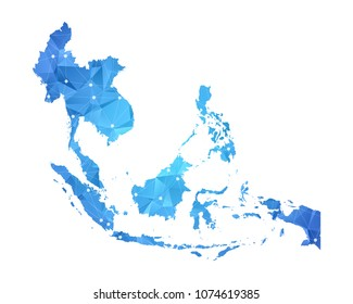Southeast Asia Map - Abstract geometric rumpled triangular low poly style gradient graphic on white background , line dots polygonal design for your . Vector illustration eps 10