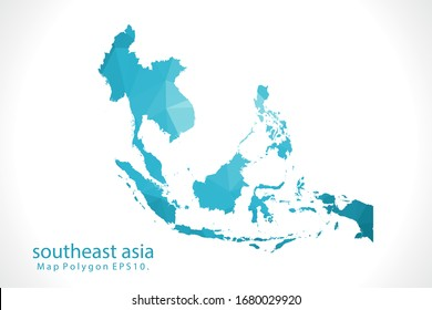 southeast asia Map Abstract geometric rumpled triangular low poly style gradient graphic on white background