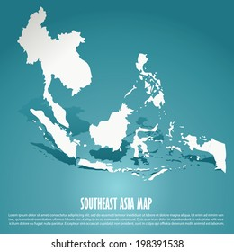 Southeast Asia map, AEC, Asean Economic Community map on green background, vector illustration, EPS10