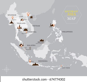 Southeast Asia Map with Country and Capital Location, Landmarks, Travel and Tourist Attraction