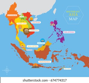 Southeast Asia Map with Country Icons and Location, Landmarks, Travel and Tourist Attraction