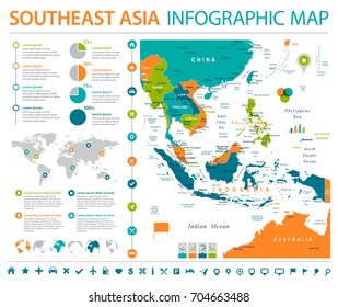Southeast Asia Map - Detailed Info Graphic Vector Illustration